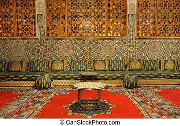 Oriental decorated lounge in Morocco