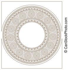 Mucha inspired round mosaic ornament colorless - Mucha...