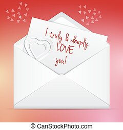 Love letter in envelope I truly and deeply love you
