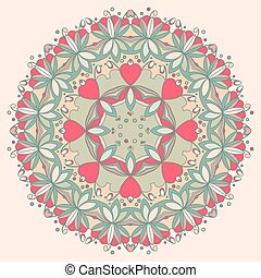 Ornamental round flower pattern with hearts