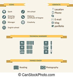 Infographic and icons for resume - Flat infographic and...