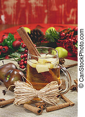 Christmas cider - Close up of apple cider with cinnamon in...