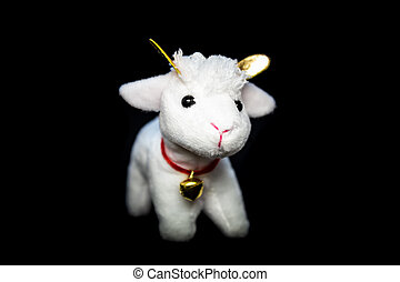 Goat or sheep the symbol 2015 year - White goat or sheep toy...