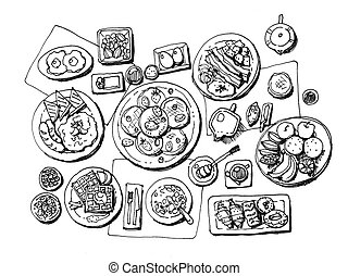 breakfast illustration - full set breakfast hand...