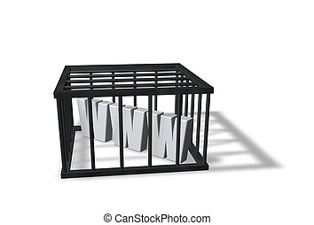 censorship - the letters www in a cage on white background -...