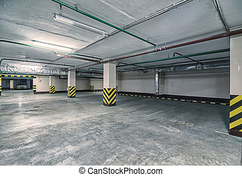 Underground parking - Underground Parking garage interior,...