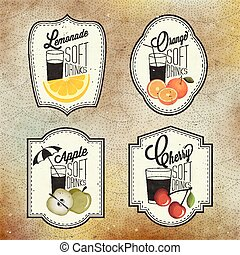 Retro vintage style Soft Drinks - Set of Calligraphic titles...