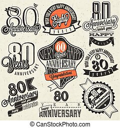 Vintage style 80th anniversary - Eighty anniversary design...