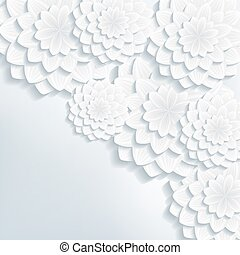 Greeting or invitation card with 3d flowers vector - Floral...