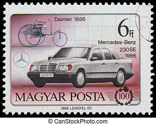 Stamp printed in Hungary shows Daimler and Mercedes Benz