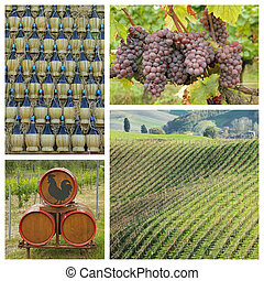 chianti wine collage, Tuscany, Italy, Europe