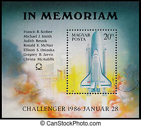 Stamp printed in Hungary shows Space Shuttle Challenger -...