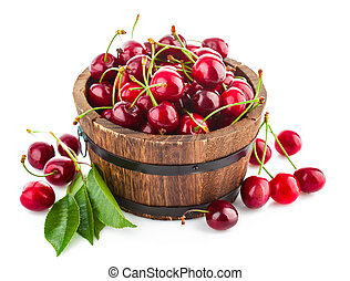 Fresh berries cherry with green leaves