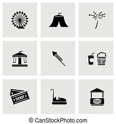 Vector black carnival icon set on grey background