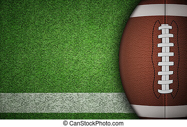American Football Ball on Grass - American football ball on...
