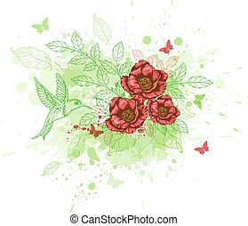 Abstract background with red flowers