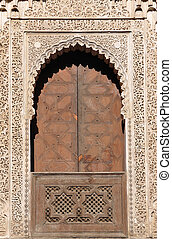 Decorated door in Medersa Bou Inania, Fes Morocco