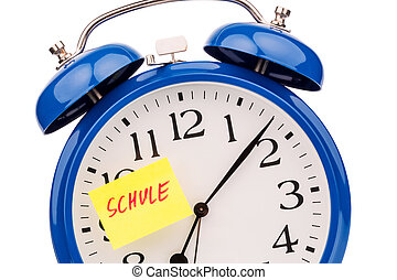 clock to the start of school - an alarm clock with a sticky...
