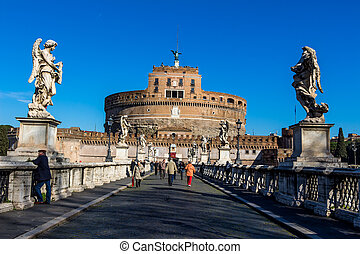 italy, rome, castel sant angelo with ponte santangelo