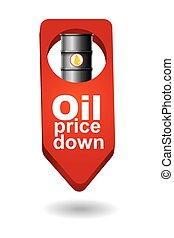 Crude oil price down, abstract illustration with barrel arrows s