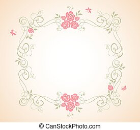 Wedding frame with rose