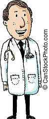 Friendly Doctor - A smiling, friendly cartoon doctor