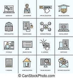 Online Education Icons Set - Online education icons set with...