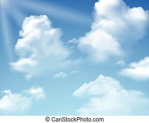 cielo, con, nubes,