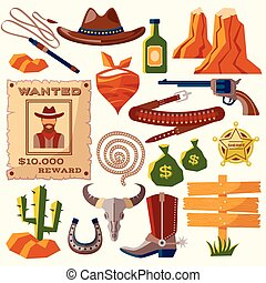 Cowboy icons flat - Wild west cowboy flat icons set with gun...