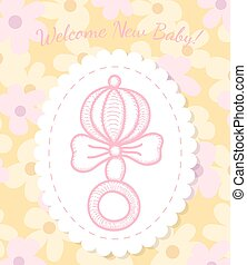 Welcome Baby Card with Rattle
