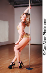 poledance - adult sexy young caucasian female poledancer