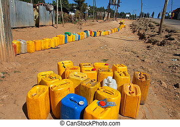 Waiting for water - Ethiopia,Addis Ababa,January 5,2014...
