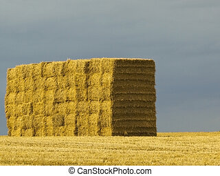 stack of bales on hilltop - a stack of big square bales on a...