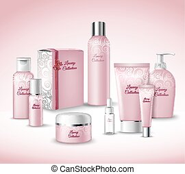 Cosmetic Packages Set - Realistic 3d Luxury Collection...