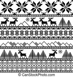 Traditional christmas knitted ornamental pattern with deer...