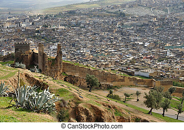 Aerial view of the old city wall and the medina of Fes,...