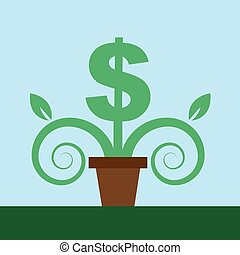 Dollar Sign Potted Plant
