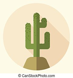 Flat design saguaro icon - Saguaro icon with long shadow....