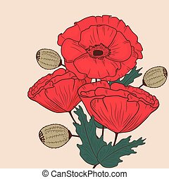 Red poppy flowers invitation card