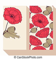 Red poppy flowers business card set