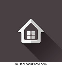 Home icon Flat design in black and white