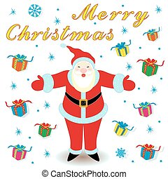 Marry Christmas with Santa Claus and gifts - Marry Christmas...