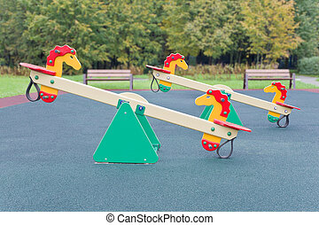 Seesaw for playground - Seesaw in the shape of the horses...