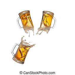 Beer splash in glass isolated on white background - Beer...