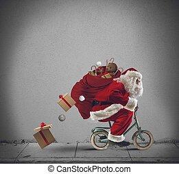 Santaclaus, en, el, bicicleta,