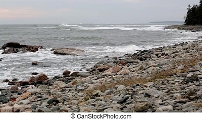 Stormy day at Southwest Harbor - Video of the shoreline...