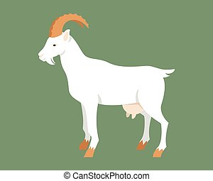 Goat. - Farm animals. Illustration of cute Goat. In the flat...