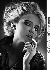 Black&white portrait of smoking girl - Black&white portrait...