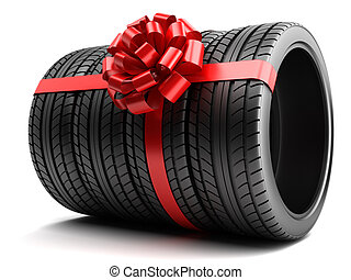 Gift set of tires wrapped ribbon and bow isolated
