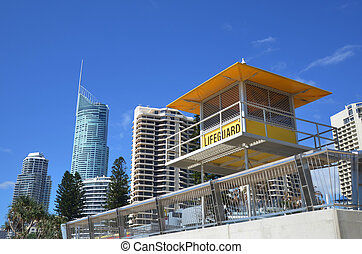 Australian Lifeguards tower - SURFERS PARADISE, AUS - NOV 20...